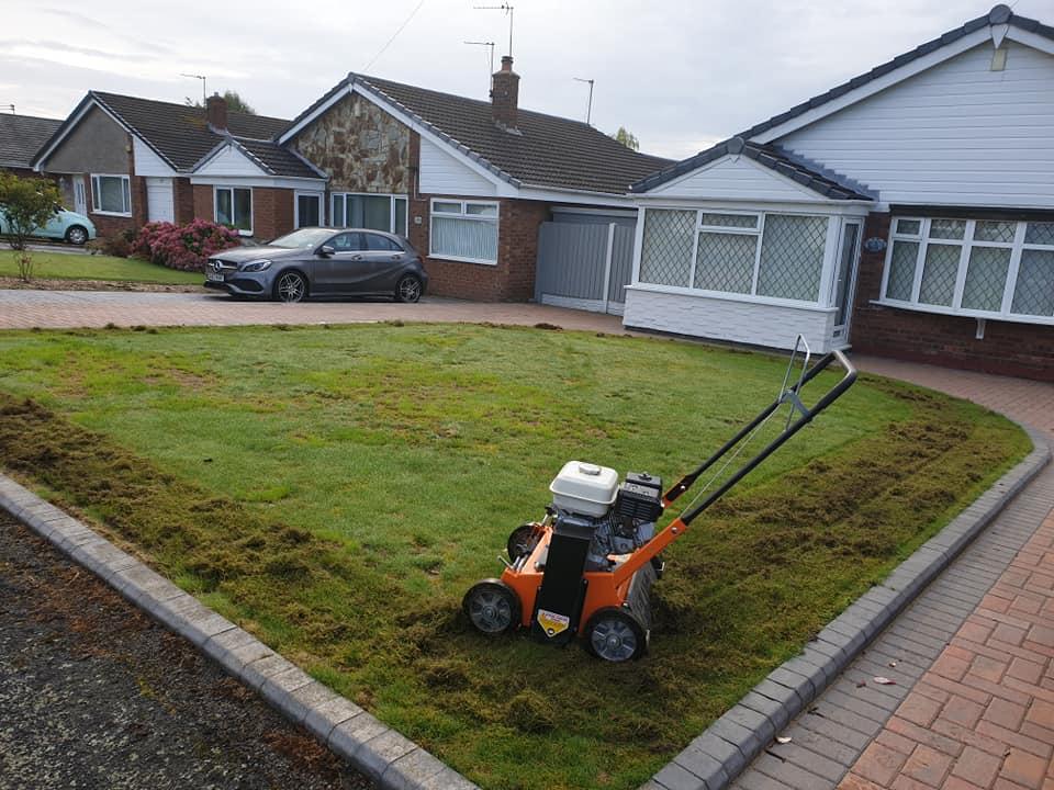 Lawn renovation in Winwick, dead lawn