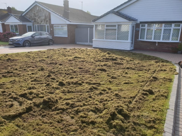 Thatch and moss removal in Winwick lawn
