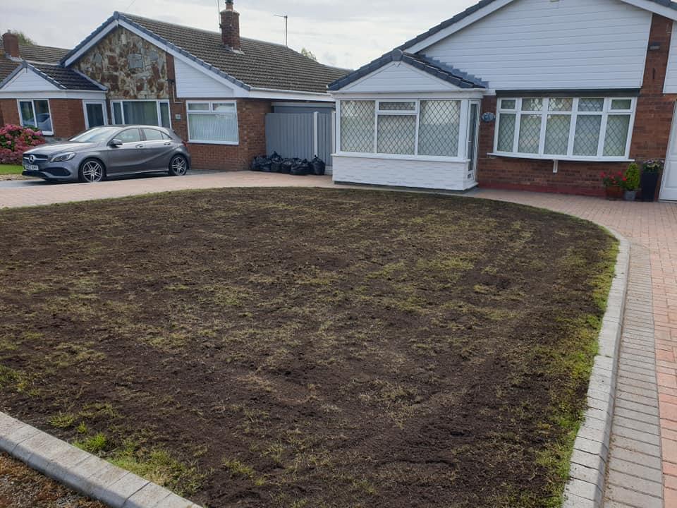 Lawn renovation, re-seeded lawn in Winwick